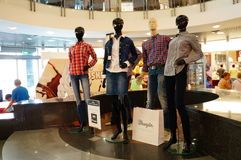 Mannequins in shopping mall. Four mannequins showing clothes of a fashion store in the shopping mall Kupiec Poznanski in Poznan, Poland Stock Images