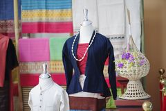 Mannequins show wearing hand-woven silk dress stock images