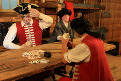 Mannequins in soldier's uniform playing cards in the barracks,Fort William Henry,New York,2015 Royalty Free Stock Image