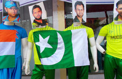 Mannequins in sports wear of Indian and Pakistan cricket players. Mannequins in sports wear of Indian and Pakistan during ICC T 20 world cup being played   in Royalty Free Stock Photography