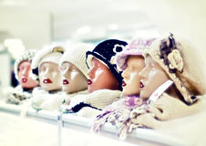 Mannequins store counter. Boutique counter Female's head mannequins Royalty Free Stock Photo
