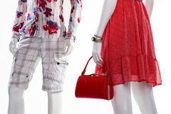 7f9a94ac81e0 Mannequins in stylish clothing. Shorts and sarafan on mannequins. Mannequins  in stylish clothing.