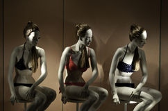 Mannequins with swim costumes Royalty Free Stock Image