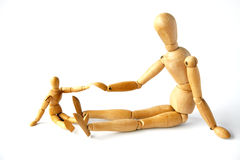 Mannequins touching hands royalty free stock photography