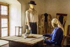 Mannequins in traditional clothes. Mannequins dressed in traditional clothes next to a window Royalty Free Stock Photo