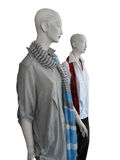 Mannequins wearing shirts and scarves Stock Photo
