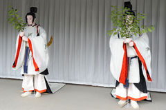 Mannequins wearing traditional Japanese clothes. Two Japanese mannequins in traditional Japanese garb Royalty Free Stock Images