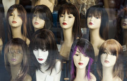 Mannequins wearing wigs. Royalty Free Stock Image