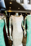Mannequins in windows store. Wearing evening dresses Royalty Free Stock Image