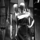 Mannequins in the women`s classic clothing Stock Photos