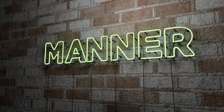 MANNER - Glowing Neon Sign on stonework wall - 3D rendered royalty free stock illustration Royalty Free Stock Photography