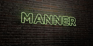 MANNER -Realistic Neon Sign on Brick Wall background - 3D rendered royalty free stock image Royalty Free Stock Photography