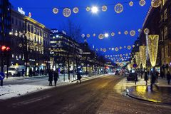 Mannerheimintie, κεντρικός δρόμος του Ελσίνκι, Φινλανδία στοκ φωτογραφία