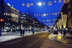 Mannerheimintie huvudsaklig gata av Helsingfors, Finland arkivbild