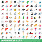 100 manners icons set, isometric 3d style Royalty Free Stock Photography