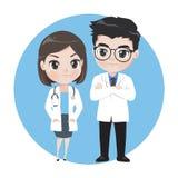 Mannes- und Ärztinzeichentrickfilm-figuren lizenzfreie abbildung