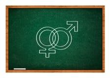 Mannes- und des weiblichen Geschlechtssymbol auf grüner Tafel Stockfoto