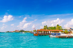 MANNETJE, de MALDIVEN - Oktober 04: Boten bij de haven naast Ibrah Royalty-vrije Stock Afbeelding