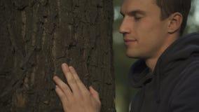 Mannetje die en stamboom, contact met voorvaderen, genealogie raken omhelzen stock footage