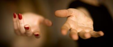 Mannetje en wijfje die handen helpen Royalty-vrije Stock Foto