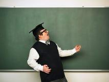 Mannetje nerd in extatische stemming Stock Foto's