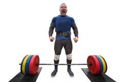 Mannetje weightlifter en emotie in de concurrentie Royalty-vrije Stock Afbeeldingen