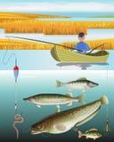 Mannfischen auf dem Boot lizenzfreie abbildung