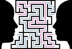 Mannfrau silhouettiert Gesichtspuzzlespiellabyrinth Stockbilder