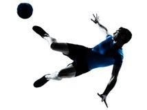 Mannfußball-Fußballspieler-Flugwesentreten Stockfotos