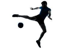 Mannfußball-Fußballspieler-Flugwesentreten Lizenzfreie Stockbilder