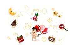 Manngeschichtensammlung, -feier, -Partei und Feiertags-karikatur cha stock abbildung