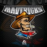 Manngesicht im Profil mit Cowboyhut Logo für irgendwelche Sportteamaußenseiter vektor abbildung
