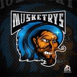 Manngesicht im Profil mit den blanken Zähnen Logo für irgendwelche Sportteam musketrys auf Dunkelheit lizenzfreie abbildung