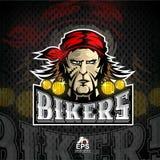 Manngesicht mit rotem Bandana Logo für irgendwelche Sportteamradfahrer auf Dunkelheit vektor abbildung