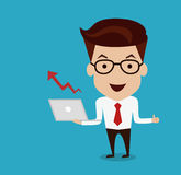 Manngriff Laptop bei Zunahme des Diagramms Lizenzfreie Stockfotos