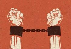 Mannhände in den belasteten Stahlhandschellen Eingesperrte Hände in den Ketten Gefangenhände Weinlese redete Vektorillustration a lizenzfreies stockfoto
