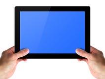 Mannhände halten einen Tablettennotencomputer Lizenzfreie Stockfotografie