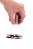 Mannhände mit Geld Stockfoto