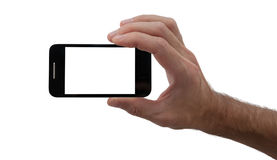 Mannhand, die intelligentes Telefon anhält Stockfotografie