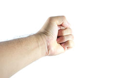 Mannhandfaust lokalisiert auf weißem Hintergrund lizenzfreie stockfotos