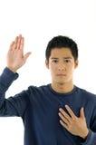 Mannhandsteigen Lizenzfreie Stockbilder