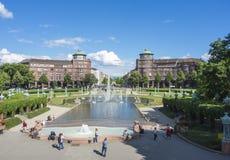 Mannheim, Allemagne Friedrichsplatz, le parc de ville dans l'heure d'été Photo libre de droits