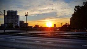 Mannheim. Ebertbruecke nacht Sonnenuntergang Royalty Free Stock Photos