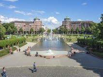 Mannheim, Friedrichsplatz, le parc de ville dans l'heure d'été Images libres de droits