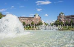 Mannheim, Friedrichsplatz, le parc de ville dans l'heure d'été Photographie stock libre de droits