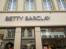 Betty Barclay store signage. Mannheim, Germany - August 24, 2017: Betty Barclay boutique. Betty Barclay GmbH & Co.KG is a women`s outerwear company selling Royalty Free Stock Images