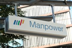 Manpower signboard. Mannheim, Germany - August 23, 2017: Manpower signage outside a building. ManpowerGroup is a Fortune 500 American multinational corporation Stock Photo