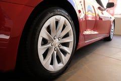 Michelin tires on Tesla car stock image