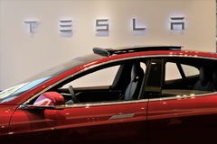 Tesla Model S electric car stock images