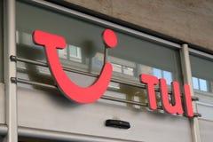 TUI Group company logo. Mannheim, Germany - August 23, 2017: TUI Group logo. Multinational travel and tourism company, is the largest leisure, travel and tourism Stock Image